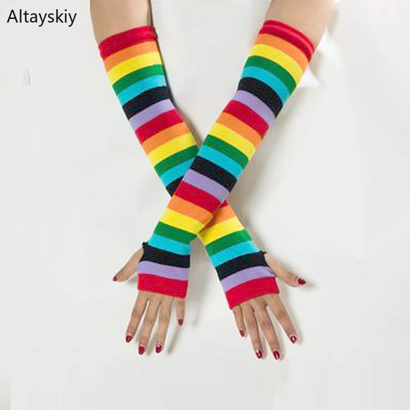Arm Warmers Women  Printing Warm Lovely Finger-less Winter Womens Mitts All-match Colorful Trendy Leisure Rainbow Color Striped