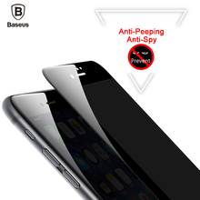 Baseus 3D Tempere Screen Protector For iPhone 7 6 6s Anti Peeping Tempered Glass For iPhone 7 6 6s Plus Privacy Soft Edge Film 0 3mm anti uv tempered glass screen film cover for iphone 6s 6 4 7 arc edge black