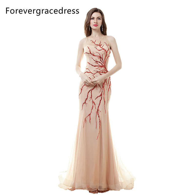 Forevergracedress Actual Photos Champagne Long Evening Dress Sexy Sequins Sleeveless Formal Party Gown Plus Size
