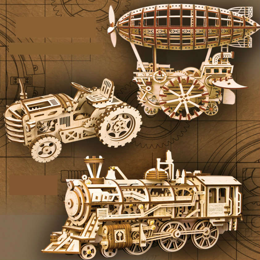 Creative DIY Laser Cutting 3D Mechanical Model Wooden Puzzle Playmobil 3d Game Assembly Toy Gift for Children Teens Adult LK