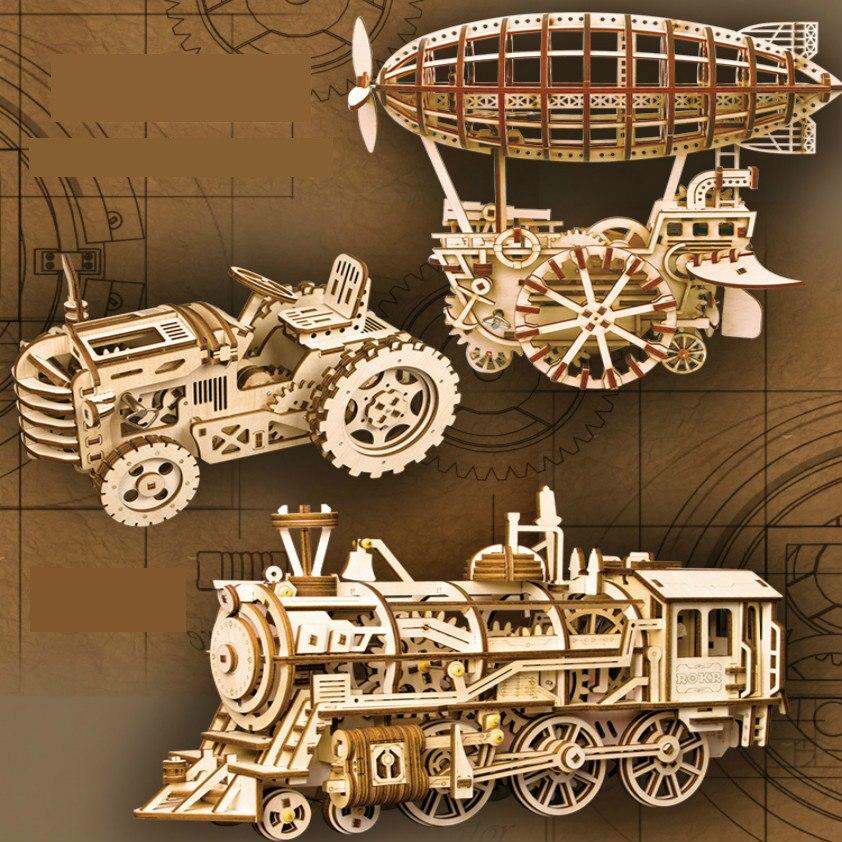 DIY creativo de corte por láser de 3D modelo mecánico de rompecabezas de madera, Playmobil 3d juego asamblea de peluche de juguete de regalo para niños adolescentes adultos LK
