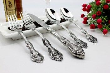 Baroque 5Pcs/set flatware set stainless steel Cutlery Sets Dinnerware Spoons/Knives Tableware Sets Cutlery Knife Fork