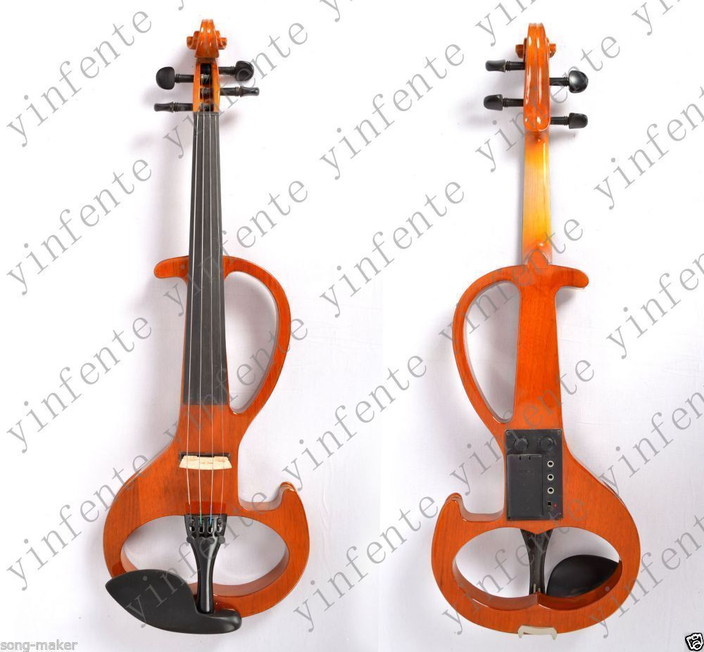 4/4 Electric Violin New Solid wood Small Jack Powerful Sound Silent Case Bow #6 6 string electric violin new 4 4 flame guitar shape solid wood powerful sound6 611