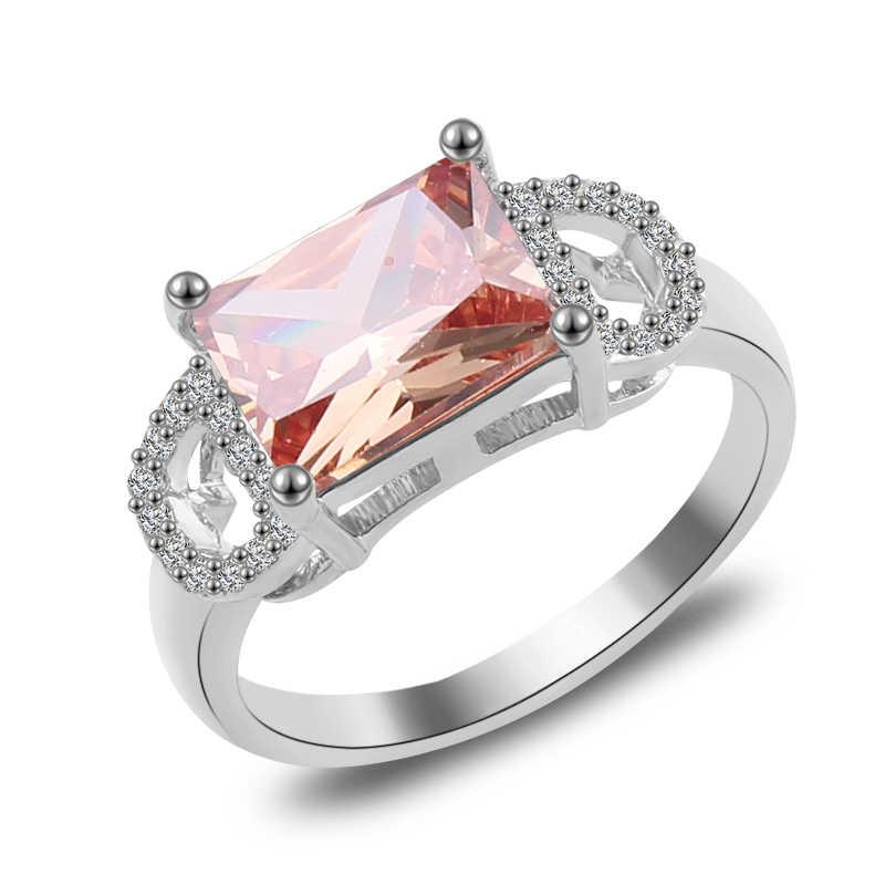 Женское кольцо с розовым тетрагоном, модное серебряное/золотое, розовое золото, заполненное ювелирное изделие, винтажные обручальные кольца для женщин, подарок с камнем на день рождения