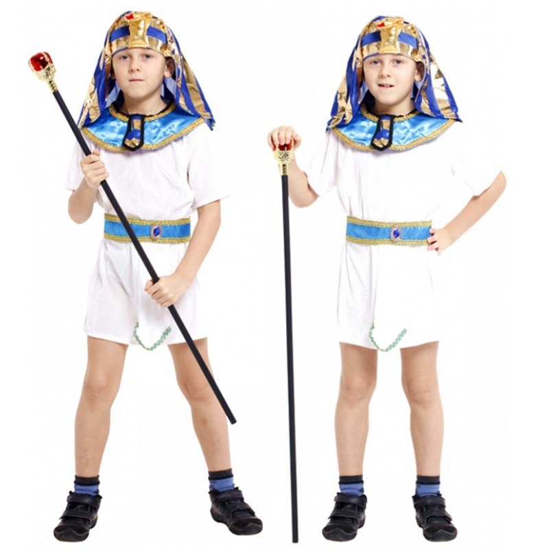 Boys The Pharaoh of Egypt Costumes Children's Halloween Costumes Fantasia Disfraces Kids The Pharaoh of Egypt Cosplay
