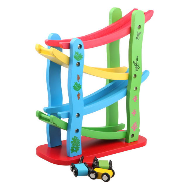 Kids Toys Wooden Ladder Gliding Car Wooden Track Car Toy Puzzle Need for Speed For Baby