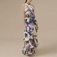 2017 Designer Women Dress HIGH QUALITY Newest Fashion Halter Neck Cascading Ruffle Long Dress