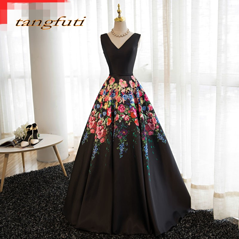 Floral Long Evening Dresses Party A Line V Neck Beautiful Women Prom Formal Evening Gowns Dresses