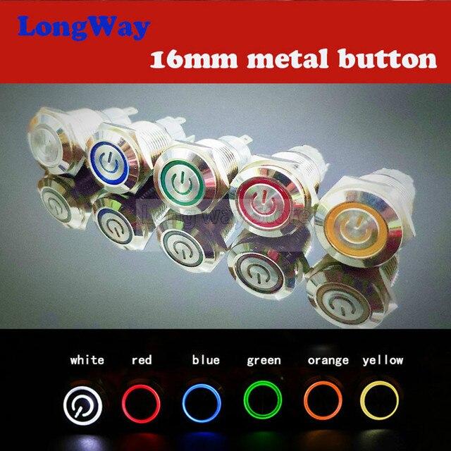 16mm interruptor de botón de metal a prueba de agua botón circular plano luz LED auto-bloqueo botón de Reinicio 1NO1NC de interruptor de botón