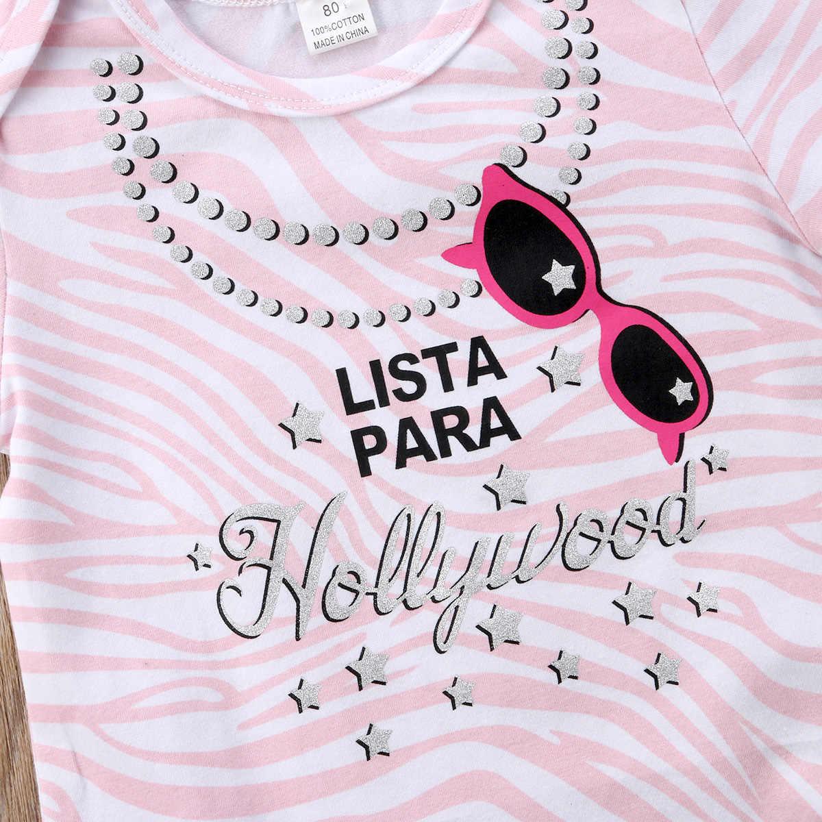 2018 جديد الوليد الرضع طفل الطفل الاطفال الفتيات ارتداءها بذلة تتسابق اللؤلؤ النظارات طباعة الملابس قصيرة الأكمام sunsuit