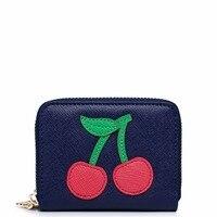 2017 Nuovo Arrivato Fashion Cherry Applique DELL'UNITÀ di elaborazione di Cuoio Delle Donne Delle Signore Delle Ragazze Bambini Mini Portafogli Monete Carte Portamonete Titolare Frizioni