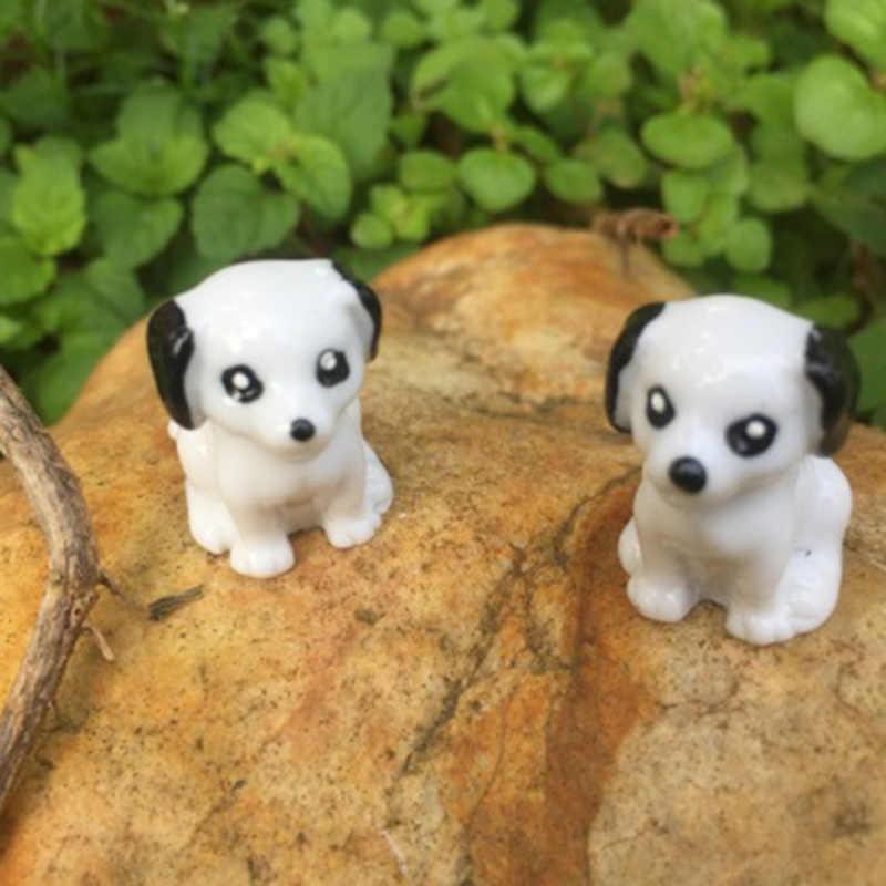 ZOCDOU 2 חתיכות שחור אוזן כלב גור כלבלב גור חיות מחמד בעלי החיים בית דגם פסל צלמית אמנות איור קישוט מיניאטורות שולחן