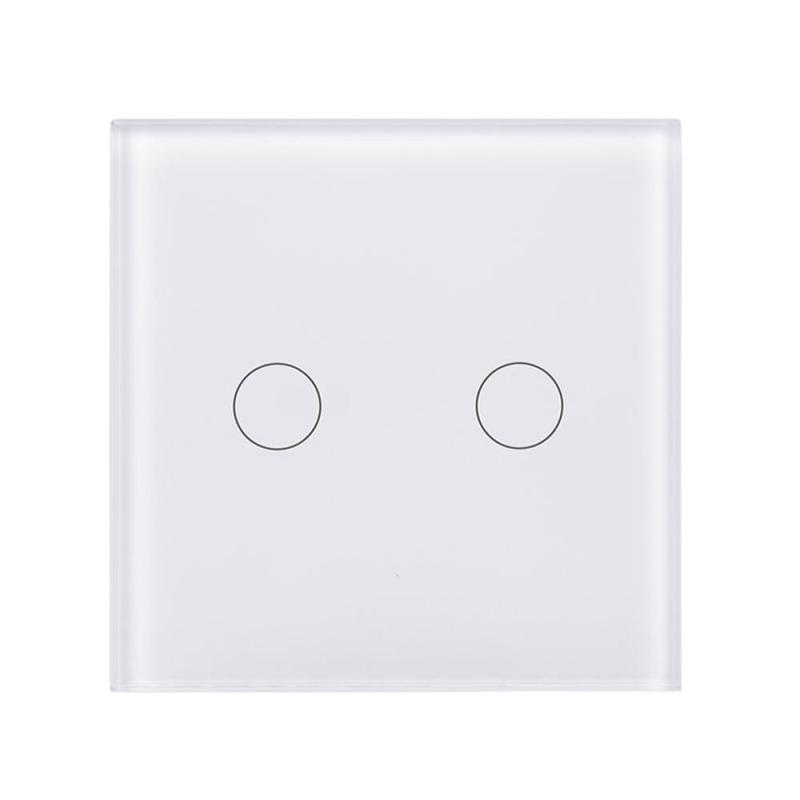 UK Standard 2 Gang 1 Way Light Wall Switch Crystal Tempered Glass Panel Touch Wireless Remote Control Switch AC 110-240V eu uk standard sesoo remote control switch 3 gang 1 way crystal glass switch panel wall light touch switch led blue indicator