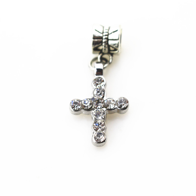 20pcs/lot crystal cross charms hanging charm big hole pendant bead charm fit pando bracelet diy jewelry dangle charms