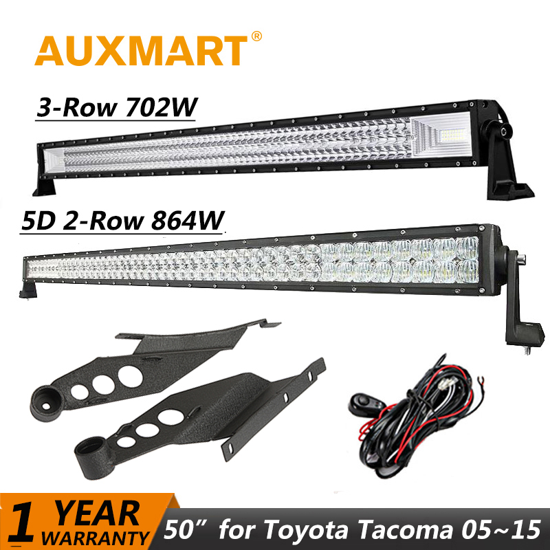 Auxmart LED Light Bar for Toyota Tacoma 2005~2015 Straight 50 864W 702W LED Work Light bar Combo Beam Offroad + Mount Brackets auxmart 22 led light bar 3 row 324w for jeep wrangler jk unlimited jku 07 17 straight 5d 400w led light bar mount brackets