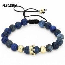 NADEEM Anil Arjandas Fashion Men Women Stone Bead Bracelet,Pave Setting Black CZ Crown Charm Weave Braiding Men Macrame Bracelet