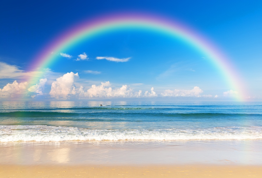 Laeacco Seaside Rainbow Cloud Portrait Scene Party Photographic Backgrounds Customized Photography Backdrops For Photo Studio