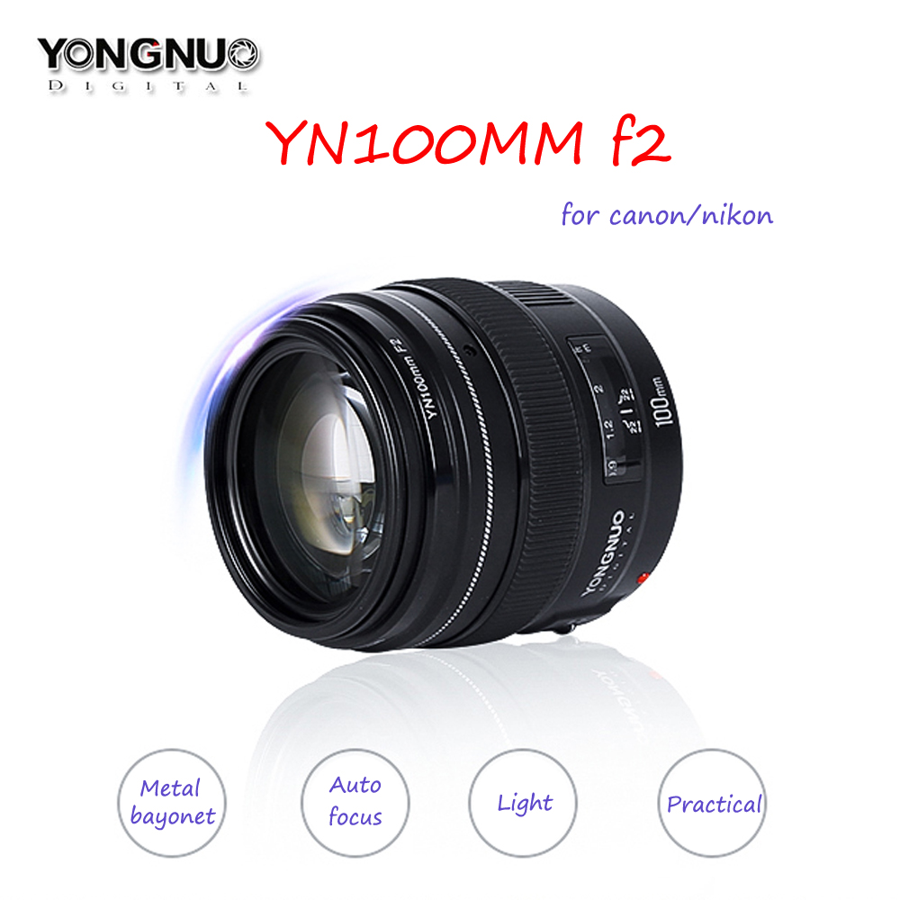 YONGNUO YN100mm F2/F2N AF/MF Lens Large Aperture Standard Medium Telephoto Prime Lens Fixed Focal For Nikon,For Canon Camera original yongnuo camera lens 35mm f2 for nikon large aperture auto focus lens for nikon 7000 d5100 d5000 d3100 d3000 d60