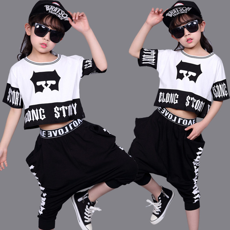 Kid's Casual Sets Suits Fashion Summer Children Clothes Hip Hop Dance Set Costume Girls Clothing 2 Pieces Suit Boys Harem Pants 4 pieces new fashion print cool boys girls clothing set cotton t shirt hip hop dance pants sport clothes suits kids outfits