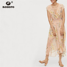 ROHOPO Summer Chiffon Pink Maxi Midi Dress Smocking High Waist Chic Female Ruffles Floral Pleated Multiways Vestido #LT2071