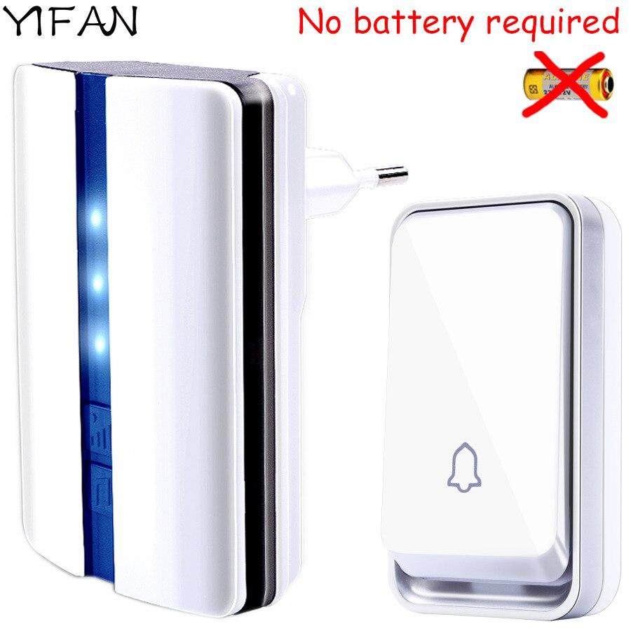 YIFAN Nouveau sonnette de porte sans fil Étanche auto alimenté par aucune batterie UE Plug sonnette intelligente 1 2 bouton 1 2 récepteur Sourds vieux homme