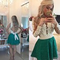 Long Sleeve 2016 New Arrival Sweetheart Coctail Dresses Beads Button Pearls vestidos de fiesta white Green Lace Prom Gown