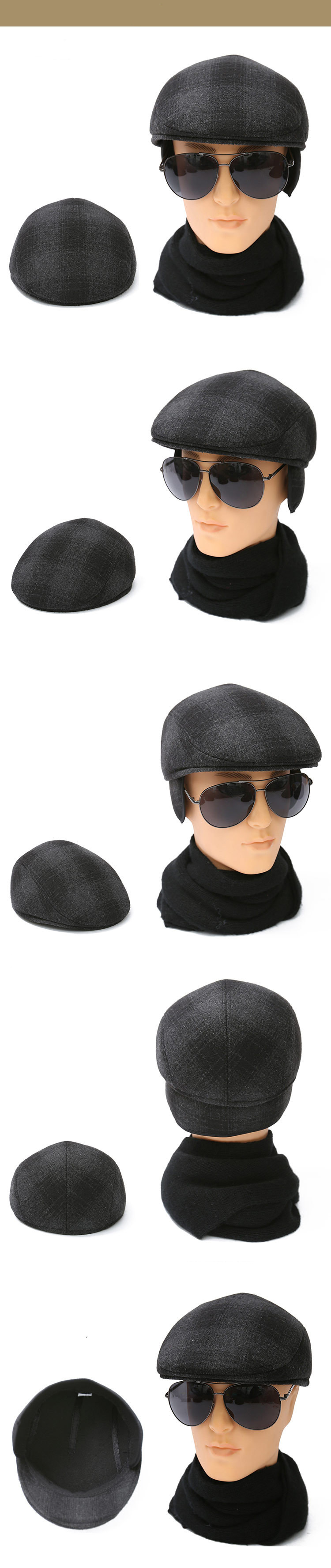 3608e6c6 Fibonacci Middle aged and old man vintage flat cap knitted ear protection  beret plus velvet hat newsboy cap