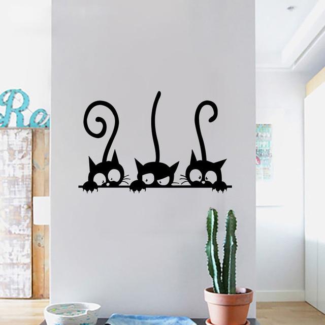 Lovely 3 Black Cute Cats Wall Sticker Moder Cat Wall