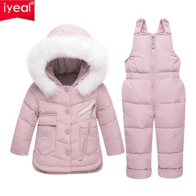 7d8be256833d IYEAL Baby Girl Winter Clothes Sets Hooded Kids Down Jacket Overalls ...