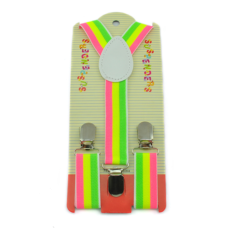 Fluorescent Rainbow Color Boy Girl Suspenders Clip-on Braces Y-back Adjustable Elastic Suspenders