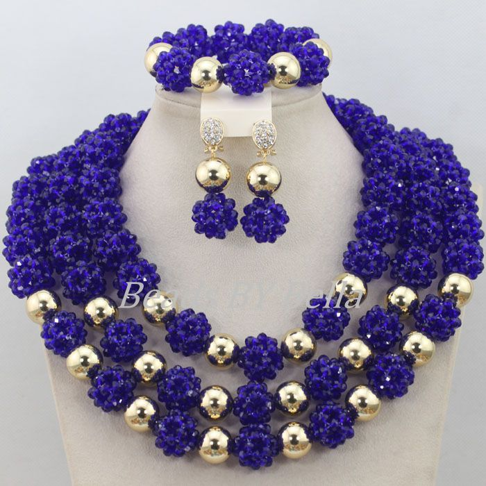 Royal Blue Balls Necklace Nigerian Wedding African Beads Jewelry Set Crystal Beads Women Costume Jewelry Free Shipping ABF600 цена
