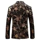 Golden Rose Pattern mens blazer casaco Ásia tamanho S 5XL Primavera e Outono Homens terno jaqueta de Manga Longa - 2