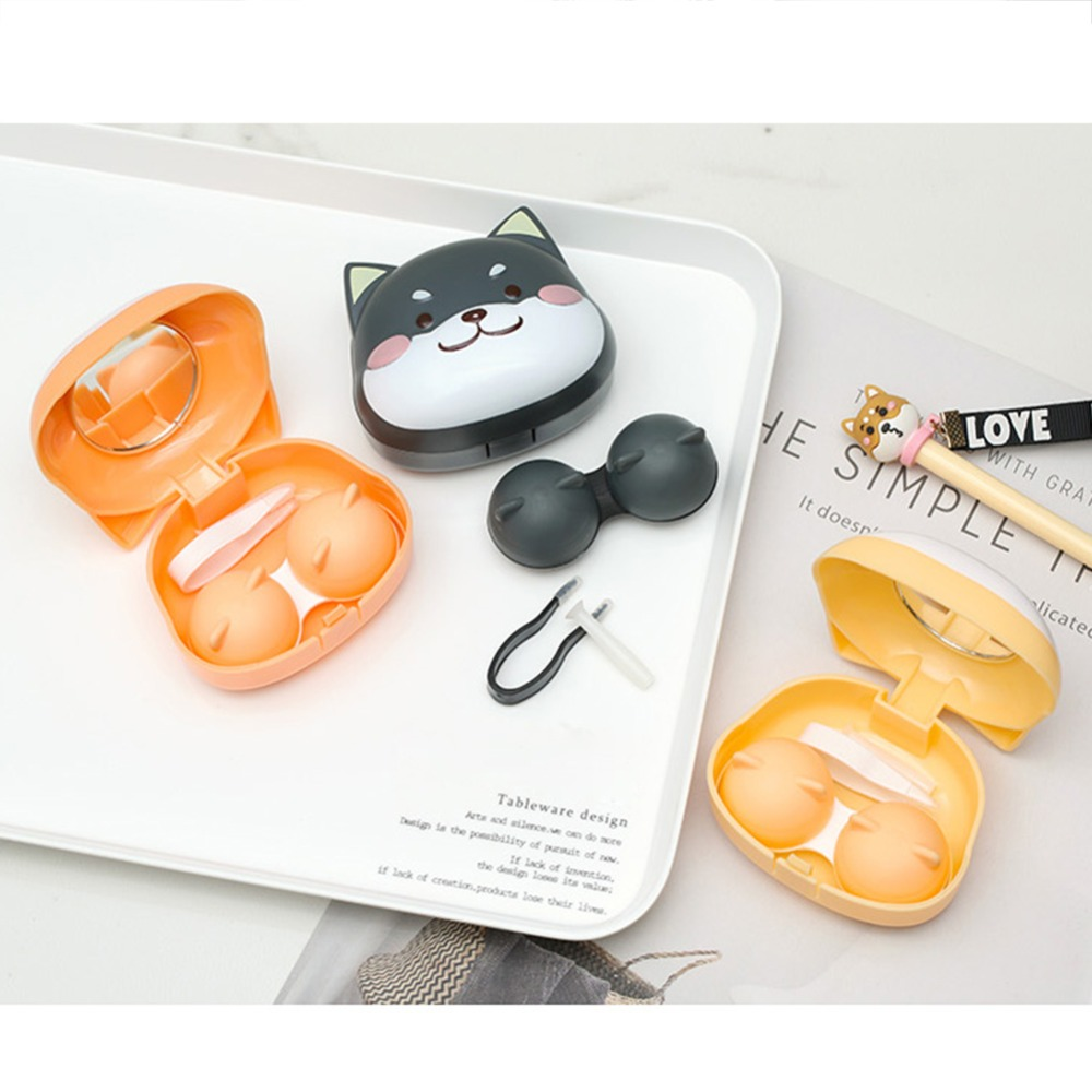 Cute Cartoon Contact Lens Case Holder Set With Mirror Travel Lenses Box Container Spectacle Cases makeup Tools