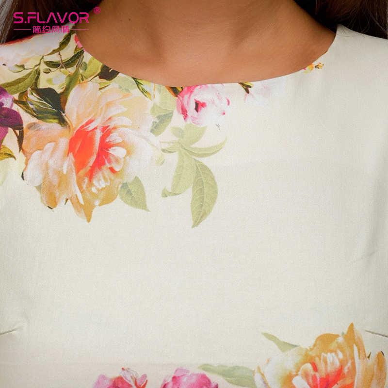 Женское платье-трапеция на праздник S.FLAVOR, элегантное повседневное платье с цветочным принтом без рукавов и пояса для весны и лета