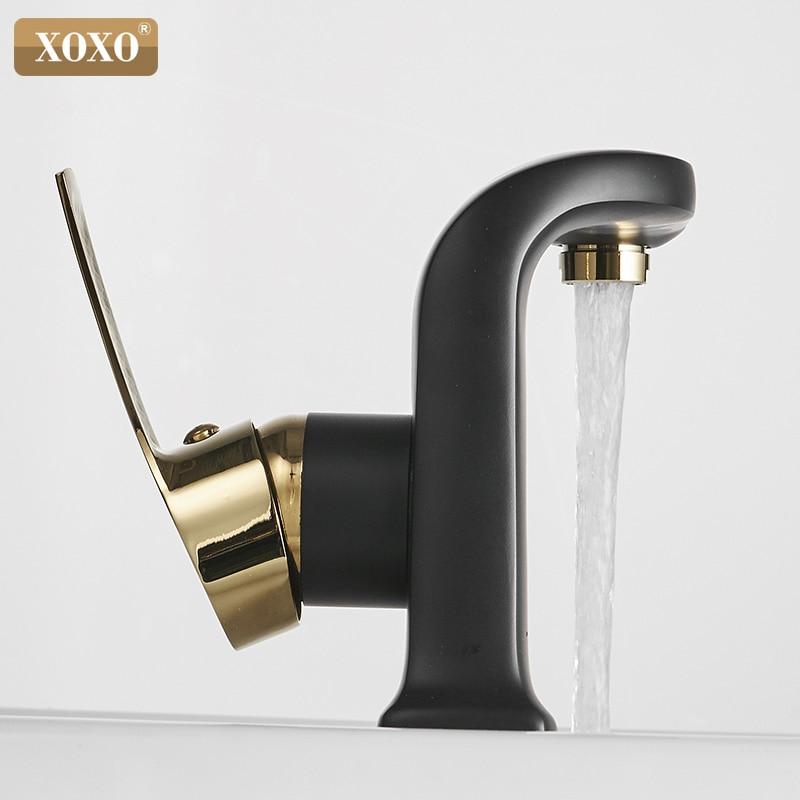 XOXO Basin Faucet Hot and cold Bathroom Mixer Tap Modern Black Brass Single Handle Sink Mixer Tap Deck Mounted Basin Crane 21055