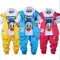 Na venda! Pato Donald meninos roupas de bebê menina vestuário set esporte terno colete + t-shirt + calças 3 pcs bebê define bebê roupas família