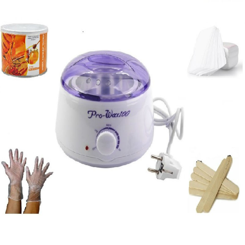 Depilatory Waxing Kit including Round Wax Heater + 500G Wax + Strips + Wooden Spatulas + Gloves for bikini & body Hair Removal