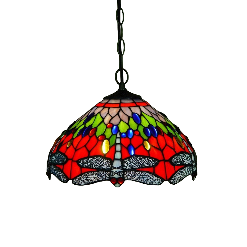 Asian Japanese Art Deco Rustic Rural Red Blue Stained Glass Dragonfly Led Hanglamp Pendant Lamp Light Cafe Restaurant Decorative deco glass ваза для цветов стрекоза d04033 0240 0306al