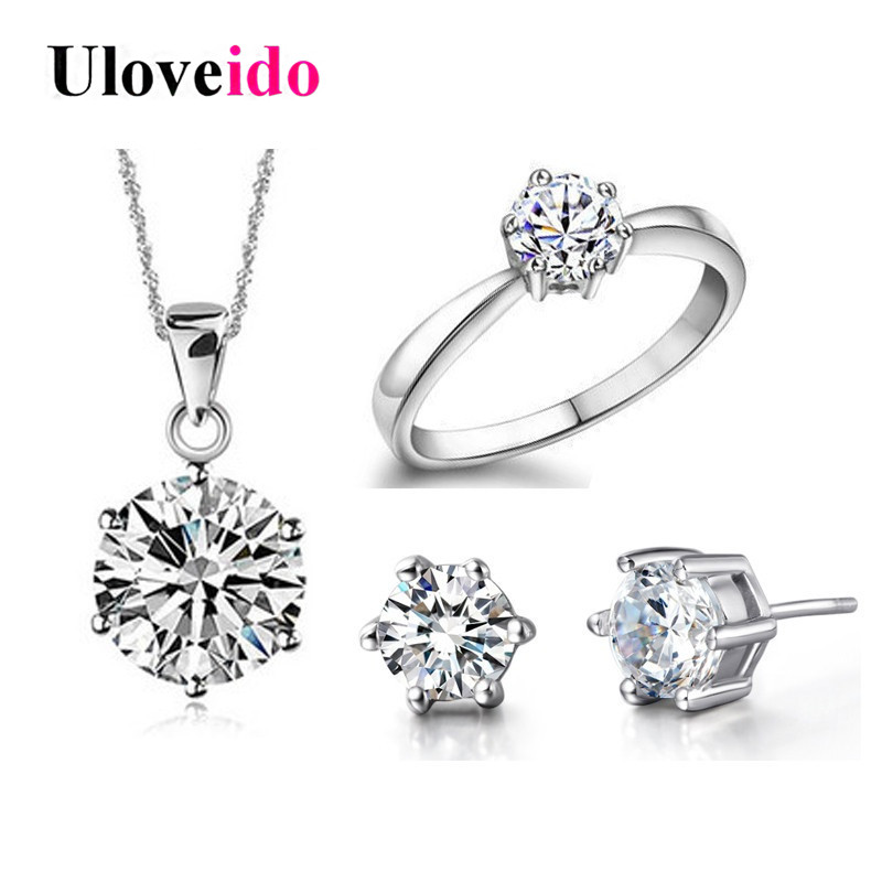 40% off Bridal Wedding Jewelry Sets Silver Color Jewelry Earrings Ring Necklaces Crystal Jewelry Necklace Set Ulove T043