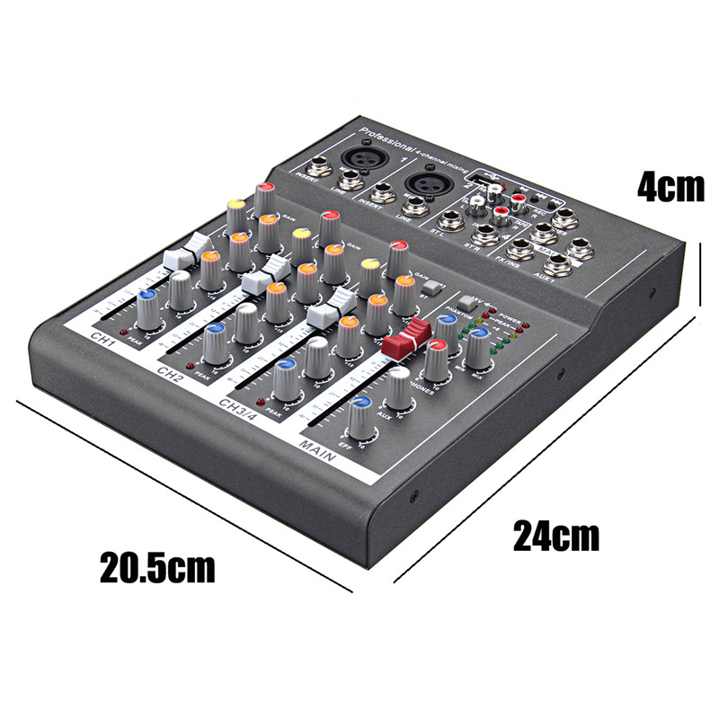 4 Channel Professional Digital Microphone Sound Mixing Console Powered Mixer 110-220V Phantom Power For DJ Karaoke Audio Mix