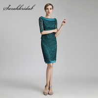 Wholesale Vintage Teal Sheath Mother of the Bride Dresses Lace Half Sleeve Knee Length Formal Women Evening Party Gowns OL458
