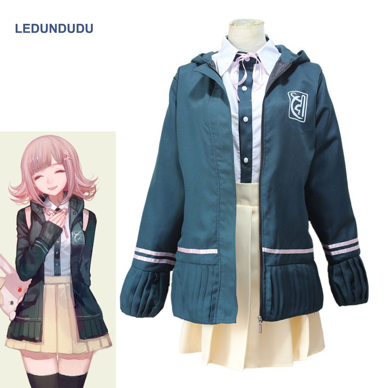 Japan Anime DanganRonpa 2 Chiaki Nanami School Uniform Dangan Ronpa Women Fancy Party Full Set Halloween Cosplay Costumes