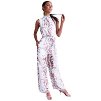 MUXU floral women jumpsuit chiffon europe and the united states jumpsuits rompers wide leg jumpsuit summer body suits for women