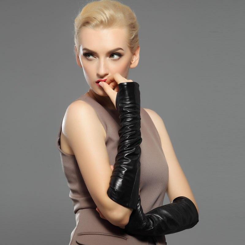 38 cm moufles longues mode sans doigts réel gants en cuir véritable femmes demi doigt solide en peau de mouton conduite gants plus chaud