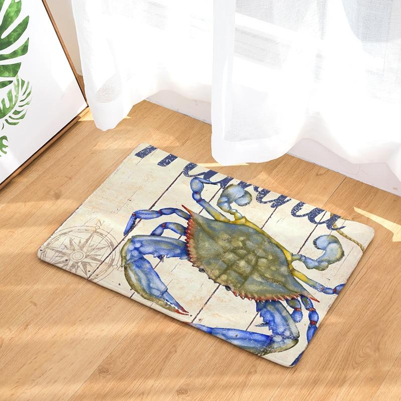 New Arrive Ocean Series Door mat Entrance Door Light Thin Flannel Cute Cartoon Cozy Carpets Home Decor Kitchen Mats