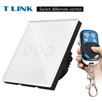 TLINK EU Standard 3 Gang Touch Switch LED 220V Waterproof Tempered Home Wall Switch Remote Control