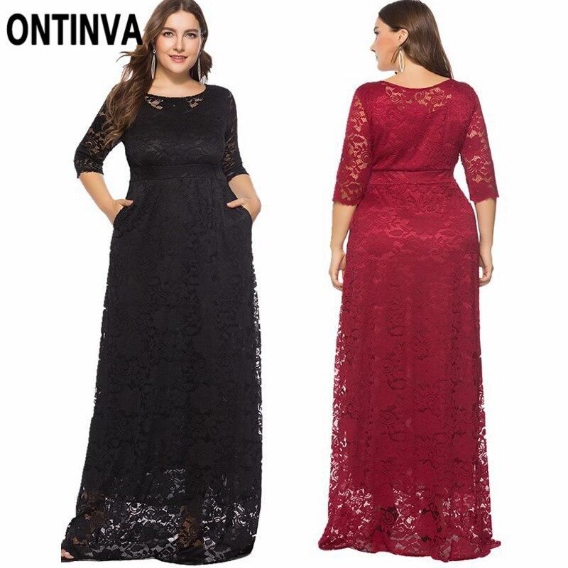 Плюс Размер 6XL Макси длинное платье женское большой размер элегантный красный кружевной халат с глубоким вырезом короткий рукав тонкая тун...