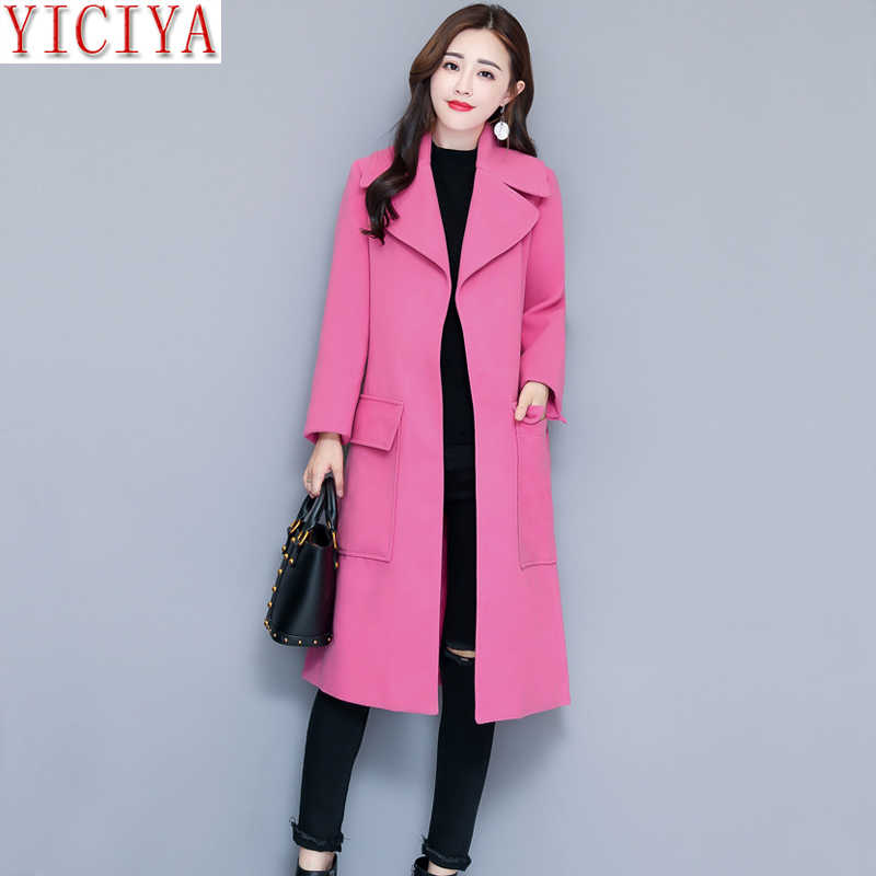 0453ce4d80c3b YICIYA women pink jacket autumn winter wool coat plus size large big long  blazet suits overcoat