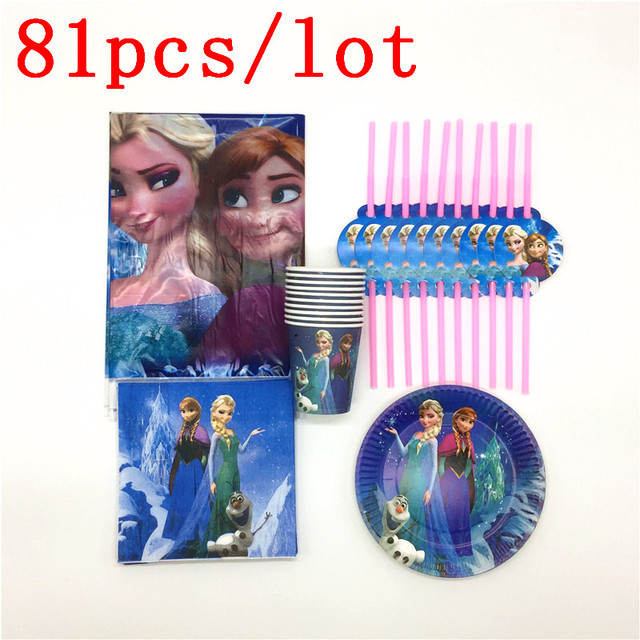 Disney Frozen Theme 81Pcs Disposable Cup Plate Flexible Straw Napkin Tablecloth Wedding Girl Birthday Party Decoration Supply