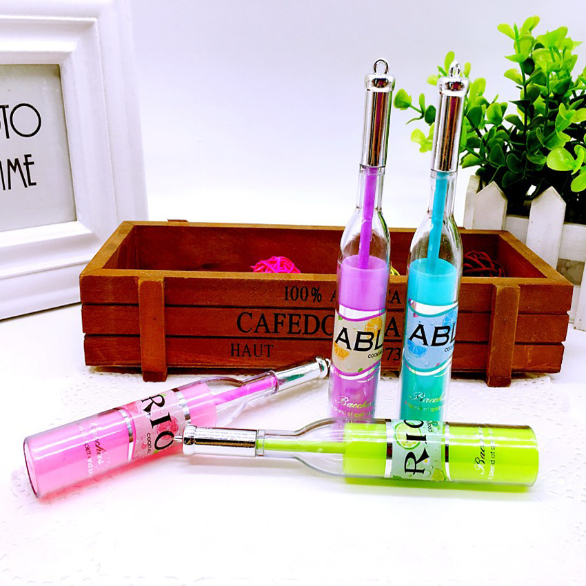 Beautiful design bottle shape of 4 different color gel pen highlighter marker stationery ballpoint pen painting colorful writing